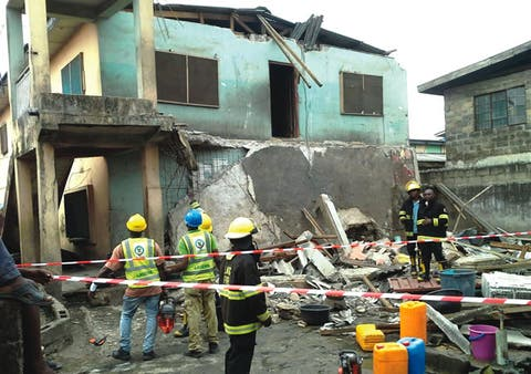 A two-storey building collapsed in Lagos, killing its owner