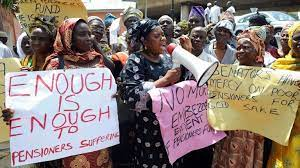 Pensioners protesting over payment delays